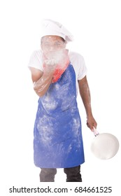 Portrait of a happy young chef wearing  blue chef uniform and chef hat, isolated on white background