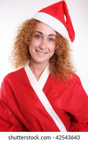 Portrait of a happy young christmas woman