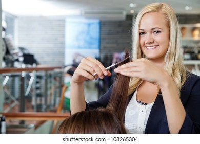 Portrait of happy young female beautician giving a haircut to female at parlor