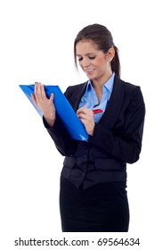 Portrait of a happy young female entrepreneur taking notes isolated over white background