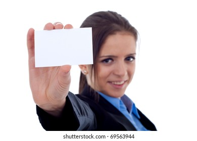 Portrait of a happy young female showing a blank business card against white background