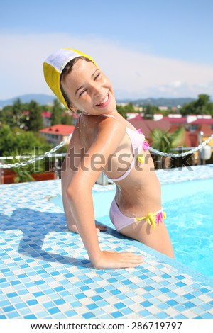 Bathing in suit young farm girl — pic 1