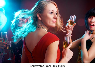 Portrait of happy young girl on the party