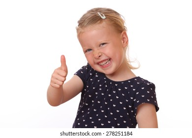 Portrait of a happy young girl showing thumbs up on white background