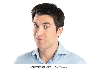 Portrait Of Happy Young Man Isolated Over White Background