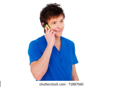 portrait of happy young man talking on cellphone. isolated on white background
