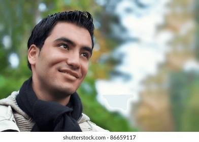 Portrait of a happy young men, autumn day