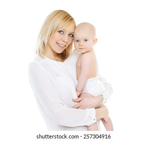 Portrait of happy young mother and her baby together