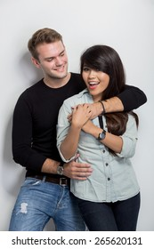 A portrait of a happy young multicultural couple
