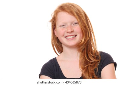 Portrait of a happy young teenage girl on white background