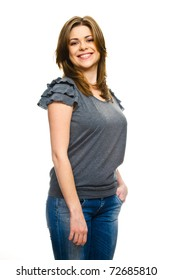 Portrait of happy young  woman  with folded hand . Isolated over white background .
