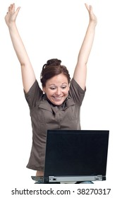 Portrait of happy young woman with laptop - both hands up. Isolated over white background.