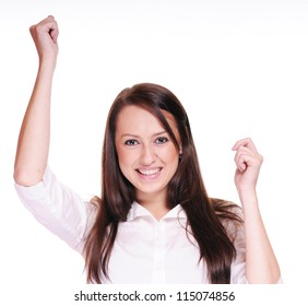 Portrait of happy young woman showing a happy gesture on white background