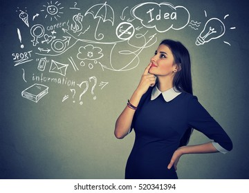 Portrait happy young woman thinking dreaming has many ideas looking up isolated grey wall background. Positive human face expression emotion feeling life perception. Decision making process concept