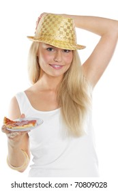 Portrait of a happy young woman wearing golden hat and holding a dish of pizza