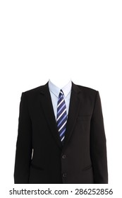 portrait of headless businessman on whte background