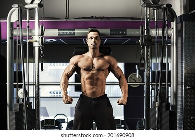 Portrait of a healthy athlete with muscular build