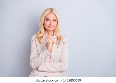 Portrait of her she nice attractive stylish elegant content wavy-haired lady skilled executive assistant company director shark expert isolated over light white gray pastel background