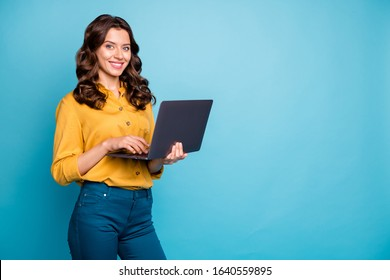 Portrait of her she nice attractive confident cheerful cheery wavy-haired girl holding in hands laptop creating web design isolated on bright vivid shine vibrant green blue turquoise color background - Shutterstock ID 1640559895