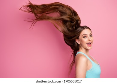 Portrait of her she nice attractive lovely cheerful cheery straight-haired girl ideal perfect clean smooth hair flying anti dander dandruff medicine isolated on pink pastel color background - Shutterstock ID 1705535017