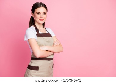 Portrait of her she nice attractive lovely pretty cute winsome content cheery girl wearing apron sales manager retail folded arms isolated over pink pastel color background