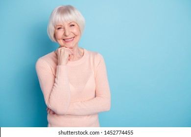 Portrait of her she nice-looking attractive lovely kind well-groomed cheerful cheery glad content gray-haired lady enjoying healthy life isolated on bright vivid shine blue green turquoise background