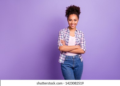 Portrait of her she nice-looking charming cute lovable pretty winsome attractive lovely cheerful cheery wavy-haired girl in checked shirt isolated over violet purple pastel background