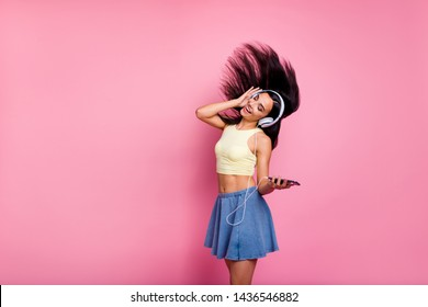 Portrait of her she nice-looking lovely sweet slim fit thin attractive shine cheerful cheery carefree girl having fun hobby isolated over pink pastel background