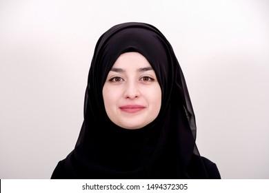 Portrait of hijab muslim woman, girl is smiling