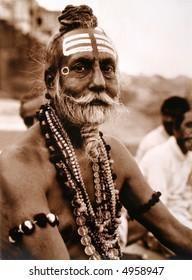 Portrait of a Hindu holy man.
