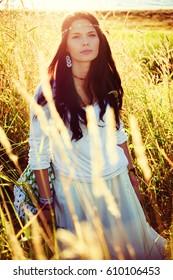 Portrait of hippie girl.