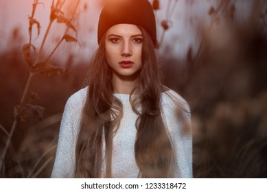 fe77d413a3c Portrait of hipster girl with black cap