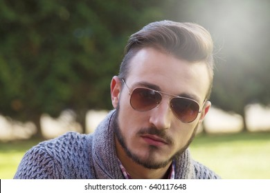 Portrait of hipster man with sunglasses