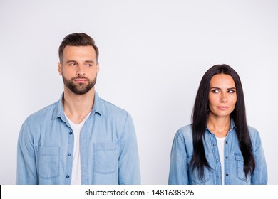 Portrait of his he her she nice-looking pretty winsome attractive lovely charming cute curious persons looking at each other first date meet isolated over light white pastel background