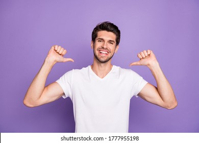 Portrait of his he nice attractive content cheerful cheery guy pointing at himself pick me yes agree isolated over bright vivid shine vibrant lilac violet purple color background