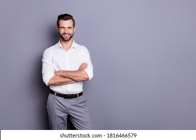 Portrait of his he nice attractive content successful cheerful cheery brunet guy executive professional consultant manager folded arms isolated over gray pastel color background - Shutterstock ID 1816466579