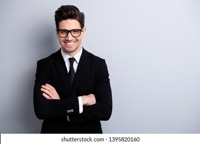 Portrait of his he nice imposing representative elegant classy chic brainy attractive cheerful guy executive leader expert development agent broker isolated over light gray background