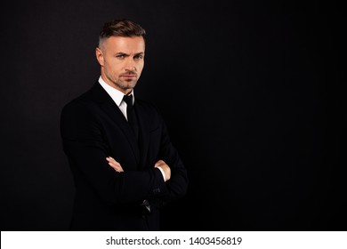 Portrait of his he nice-looking attractive chic content guy financial director economist shark sales expert specialist banker folded arms copy space isolated over black background