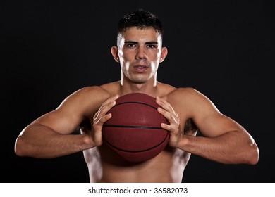 A portrait of a hispanic basketball player