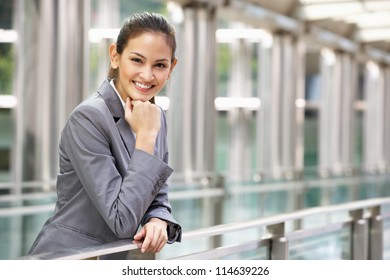 Portrait Of Hispanic Businesswoman Outside Office