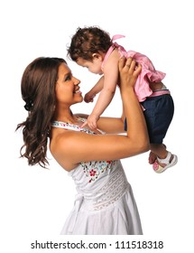 Portrait of Hispanic mother and daughter isolated over white background