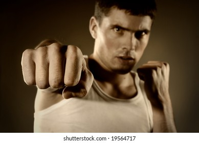 portrait of the hitting fighter