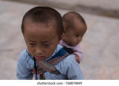 Portrait of Hmong boy  in Sapa.Photo taken at Sapa,Vietnam.Date : October 15,2017.