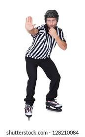 Portrait of hockey judge whistling. Isolated on white