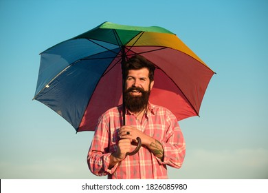 Portrait of homosexual male guy. Lgbtq, gay pride banner template. Man with rainbow symbols protesters for LGBT rights, pride events