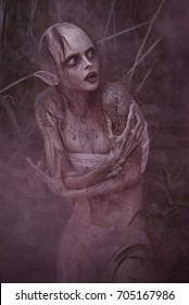 Portrait of a horrible scary fantasy style mystic creature. Horror or Halloween concept