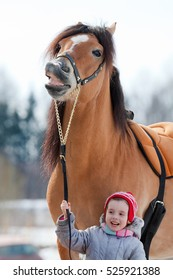 Portrait of of horse and child closeup. Smiling horse and child. Horse riding in winter.
