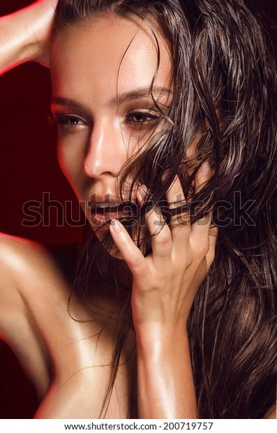 Portrait Hot Girls Dark Hair Tanned Stock Photo Edit Now 200719757