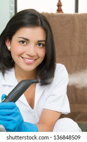 Portrait of a hot young lady in cleaning gear