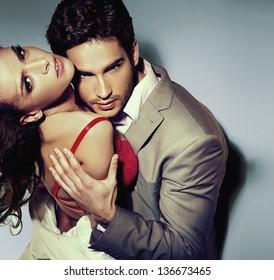 Portrait of a hugging couple